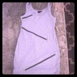 Grey zipper mini dress